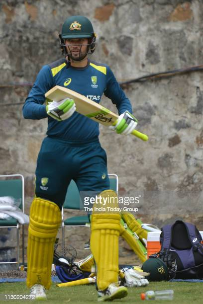 Australian Cricketer Alex Carey clicked during a practice session for the 5th and Final ODI Cricket Match against India in New Delhi