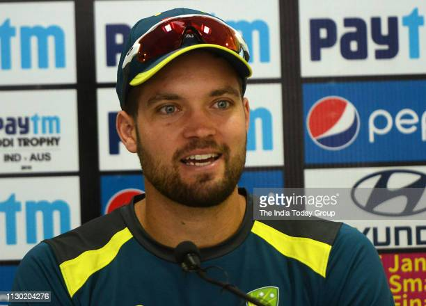 Australian Cricketer Alex Carey clicked while addressing a press conference before the fifth OneDay International Cricket Match between India and...