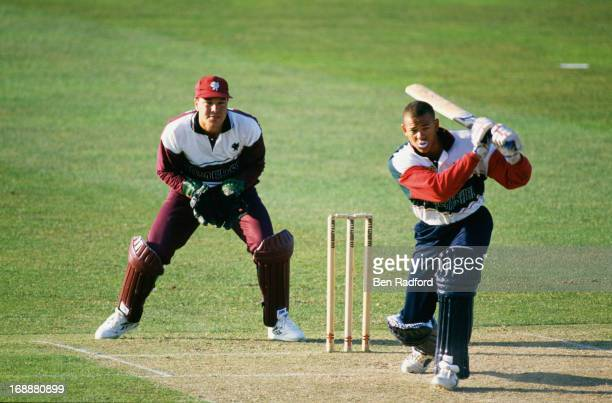 Australian cricketer Andrew Symonds batting for Gloucestershire against Somerset in a Sunday League first round match at Taunton County Ground...