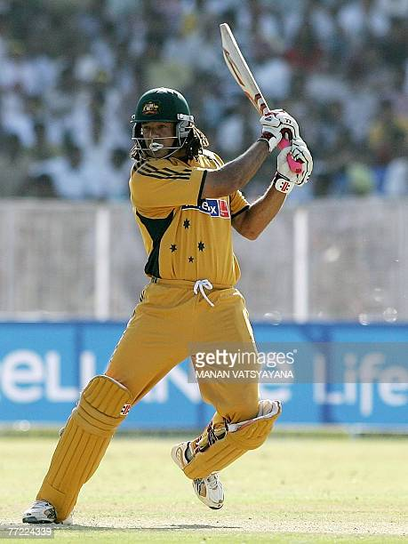 Australian cricketer Andrew Symonds plays a stroke during the fourth OneDay International match in Chandigarh 08 October 2007 Australia are currently...
