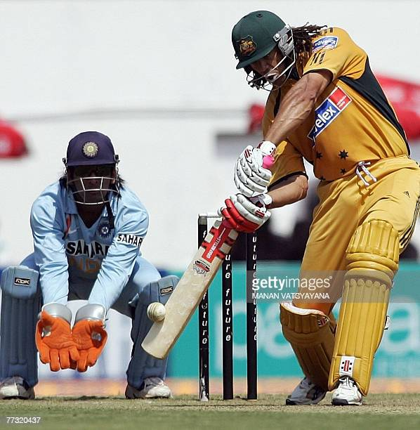 Australian cricketer Andrew Symonds plays a stroke on his way to a century during the sixth One-day International match between India and Australia...
