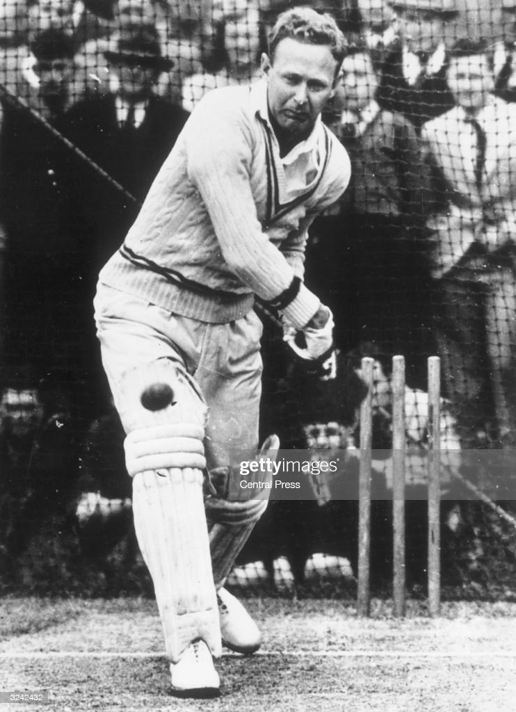 Australian cricketer Arthur Morris in action.