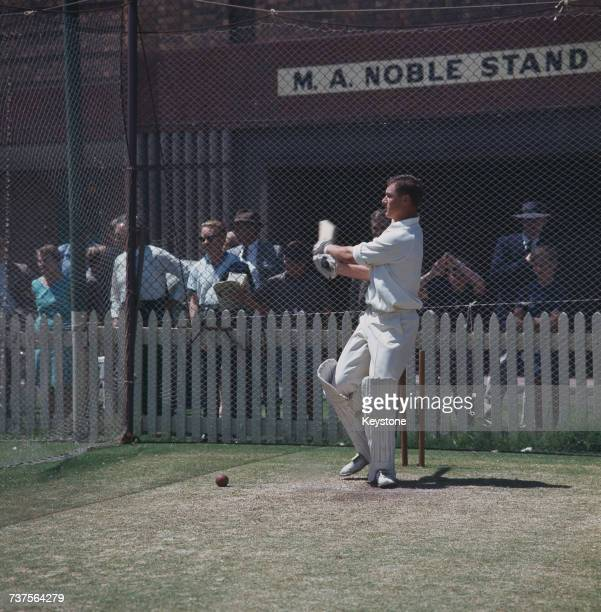 Australian cricketer Bob Cowper practising in the nets at at the Sydney Cricket Ground Sydney Australia 1968
