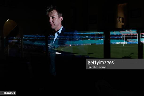 Australian cricketer Brett Lee addresses media representatives at a press conference to announce his retirement from International Cricket at the SCG...