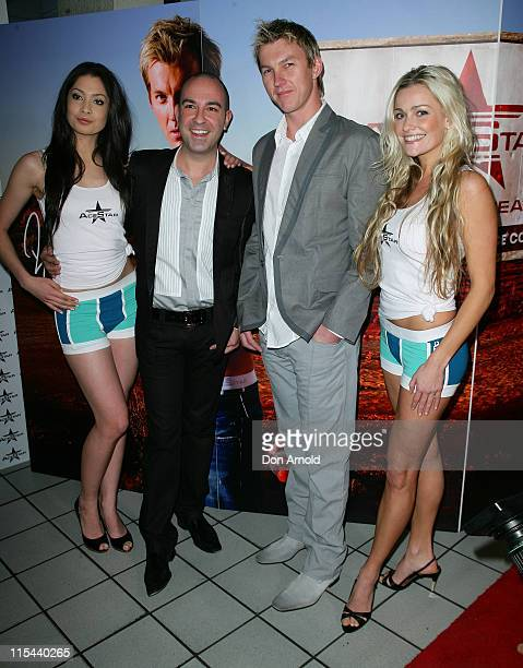 Australian cricketer Brett Lee and designer Bruno Schiavi pose alongside models during the official launch of the AceStar underwear range at Pink...