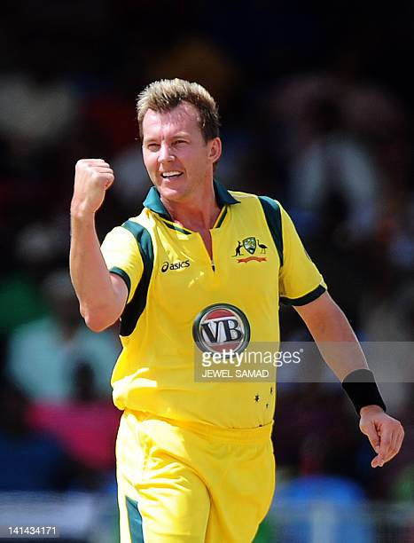 Australian cricketer Brett Lee celebrates after dismissing West Indies batsman Kieran Powell during the firstoffive One Day International matches...