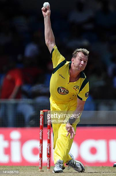Australian cricketer Brett Lee delivers a ball during the firstoffive One Day International matches between Australia and West Indies at the Arnos...