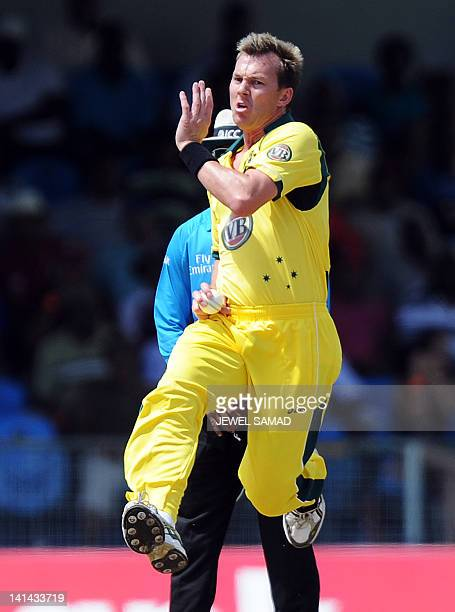 Australian cricketer Brett Lee delivers a ball during the first-of-five One Day International matches between Australia and West Indies at the Arnos...