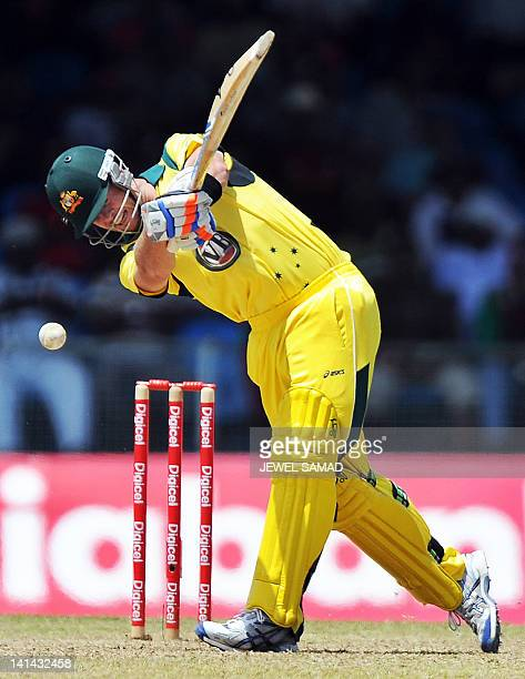 Australian cricketer Daniel Christian plays a shot during the firstoffive One Day International matches between Australia and West Indies at the...