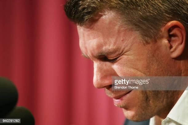 Australian cricketer David Warner breaks down during a press conference at Cricket NSW Offices on March 31 2018 in Sydney Australia Warner was banned...