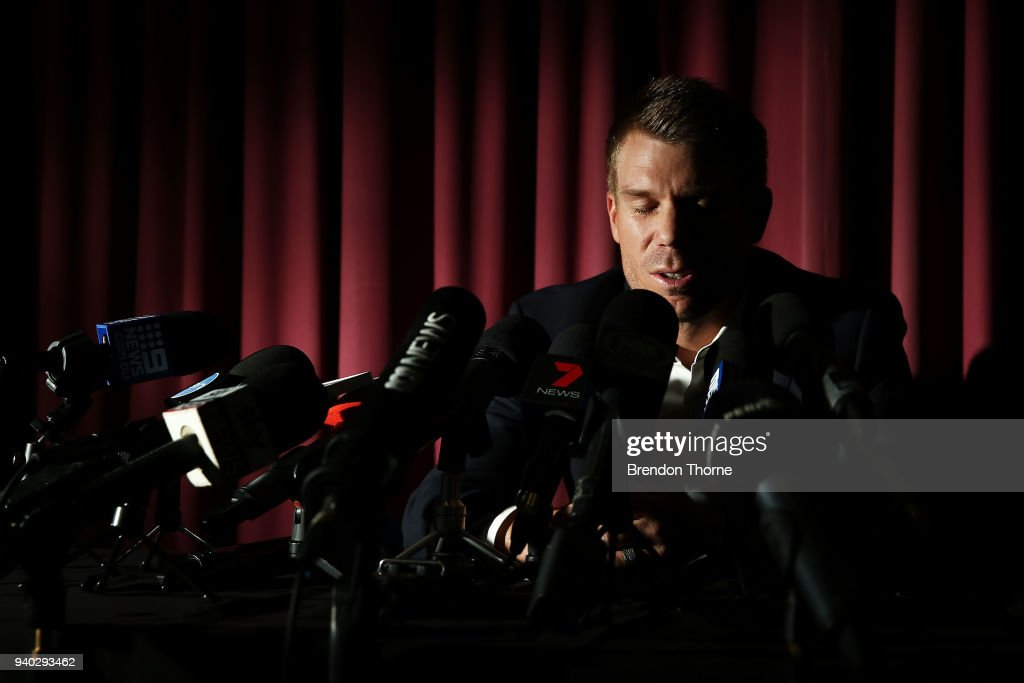 Australian cricketer David Warner breaks down during a press conference at Cricket NSW Offices on March 31, 2018 in Sydney, Australia. Warner was banned from cricket for one year by Cricket Australia following the ball tampering incident in South Africa.