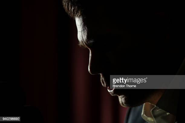 Australian cricketer David Warner breaks down during a press conference at Cricket NSW Offices on March 31, 2018 in Sydney, Australia. Warner was...