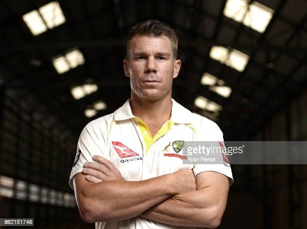 Australian Cricketer David Warner poses during the Australian Cricket Team ASICS Kit Launch at Carriageworks on October 17 2017 in Sydney Australia