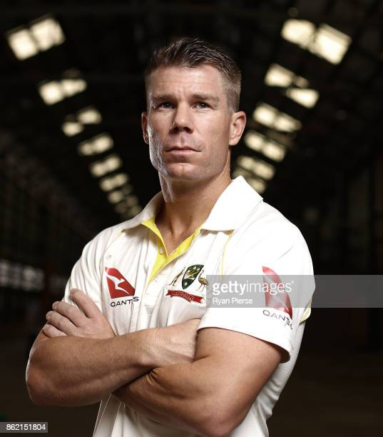 Australian Cricketer David Warner poses during the Australian Cricket Team ASICS Kit Launch at Carriageworks on October 17 2017 in Sydney Australia