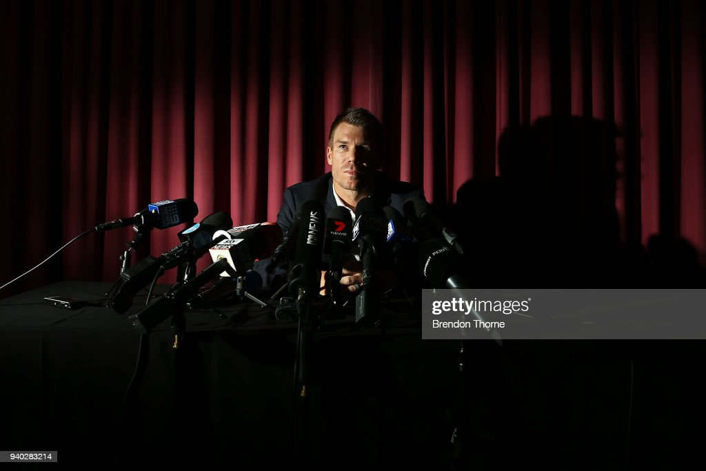 Australian cricketer David Warner speaks to the media during a press conference at Cricket NSW Offices on March 31, 2018 in Sydney, Australia. Warner was banned from cricket for one year by Cricket Australia following the ball tampering incident in South Africa.