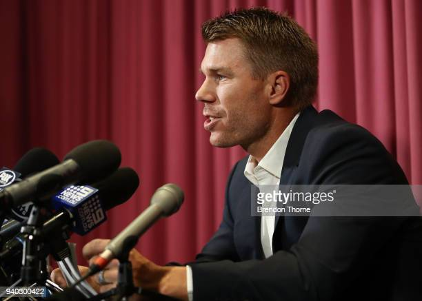 Australian cricketer David Warner speaks to the media during a press conference at Cricket NSW Offices on March 31 2018 in Sydney Australia Warner...