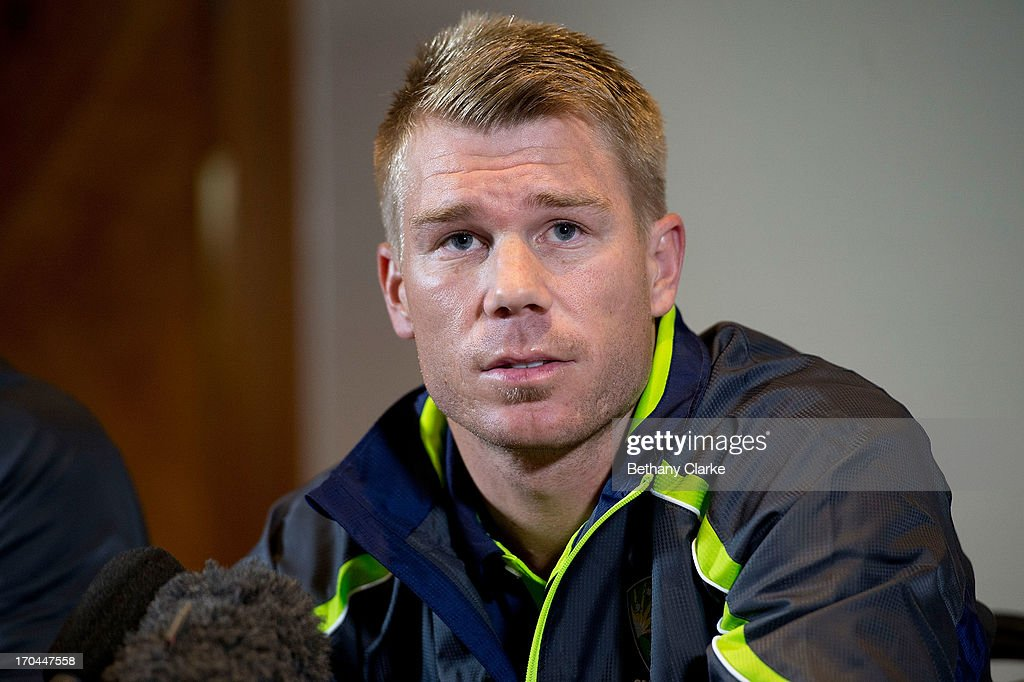 Australian cricketer David Warner talks to the press at Royal Garden Hotel on June 13, 2013 in London, England. David Warner and Captain Michael Clarke hold a press conference after David Warner was suspended for an alleged attack on England's Joe Root.