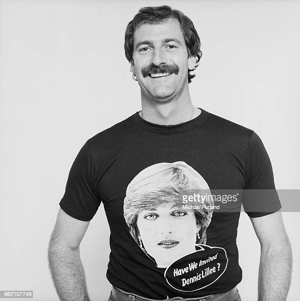 Australian cricketer Dennis Lillee 1981 He is wearing a royal wedding tshirt bearing a portrait of Princess Diana and a speech bubble reading 'Have...