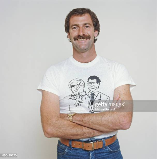 Australian cricketer Dennis Lillee 1981 He is wearing a tshirt bearing a caricature of Princess Diana and Prince Charles