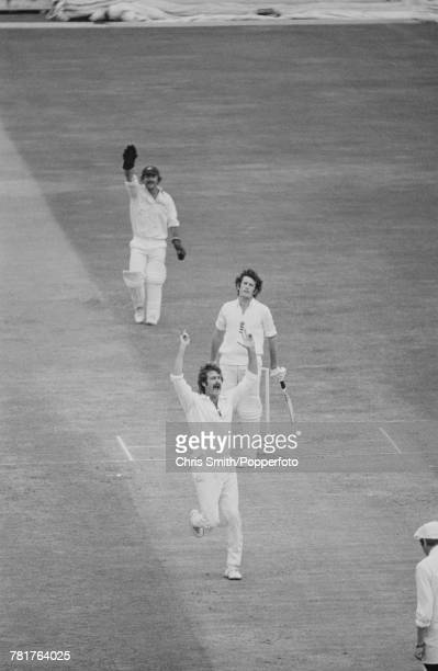 Australian cricketer Dennis Lillee appeals to umpire Dickie Bird for the dismissal of England cricketer John Snow as wicket keeper Rod Marsh raises...