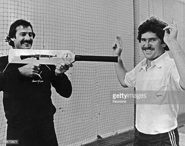 Australian cricketer Dennis Lillee menaces team mate Allan Border with his aluminium Combat bat 17th December 1979 The bat caused controversy at the...