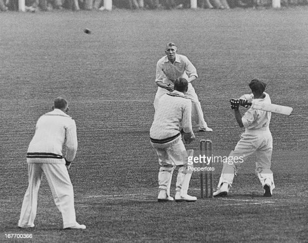Australian cricketer Don Bradman hits a ball to leg during the second day of a match between Worcestershire and Australia at County Ground New Road...