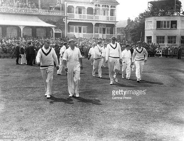 Australian cricketer Don Bradman leading his team onto the field at Trent Bridge Nottingham for the first Test Match of the season against England...