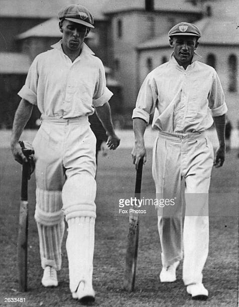 Australian cricketer Don Bradman with Jack Fingleton , going out to bat in the 2nd test against England at Melbourne. Australia won by 111 runs, but...