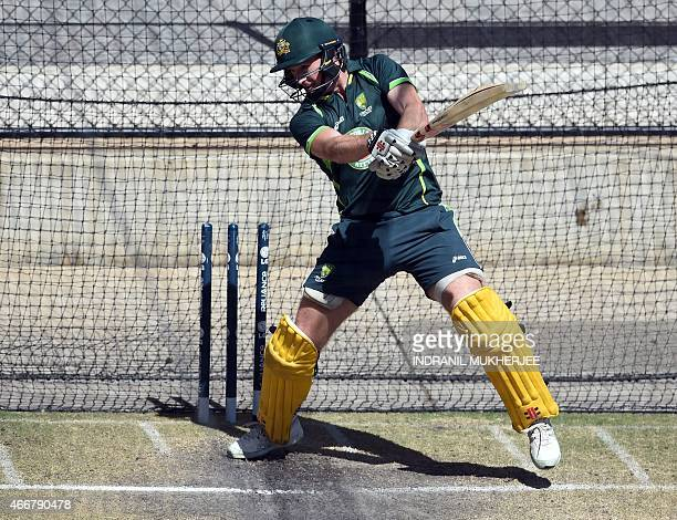 Australian cricketer George Bailey plays a shot during a training session in Adelaide on March 19 ahead of the 2015 Cricket World Cup quarterfinal...