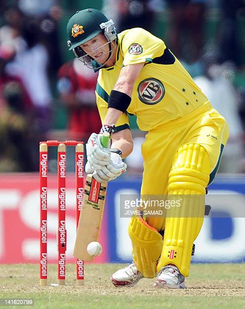 Australian cricketer George Bailey plays a shot during the third-of-five One Day International matches between West Indies and Australia at the Arnos...