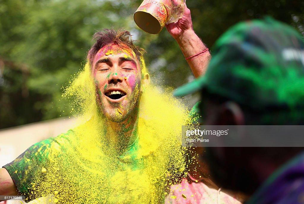 Glenn Maxwell Celebrates Holi Festival