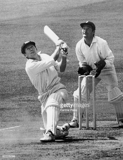 Australian cricketer Ian Chappell lifts a ball from Pat Pocock before being caught by wicket keeper Alan Knott for 9 during Australia's second...