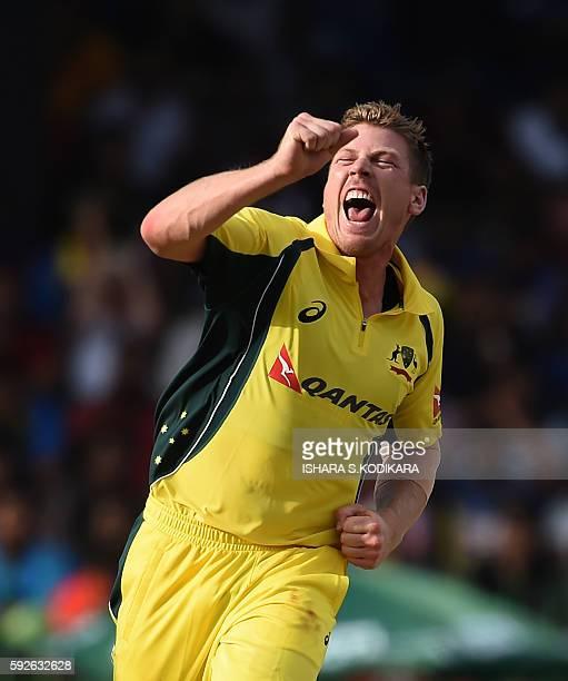 Australian cricketer James Faulkner celebrates the dismissal of Sri Lanka's captain Angelo Mathews during the first One Day International cricket...