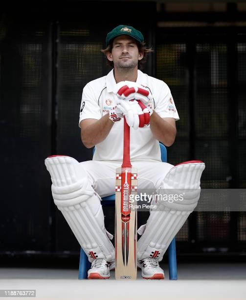 Australian cricketer Joe Burns poses during a portrait session at The Gabba on November 20 2019 in Brisbane Australia