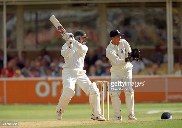 Australian cricketer Mark Taylor in action during the 1st Test Match of the Ashes June 1997 England v Australia at Birmingham