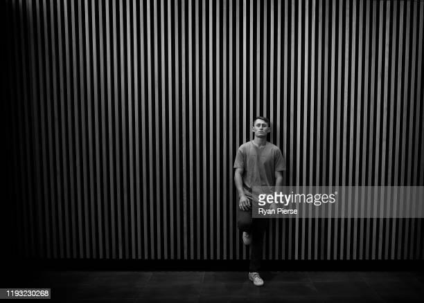 Australian cricketer Marnus Labuschagne poses during a portrait session at Optus Stadium on December 11 2019 in Perth Australia