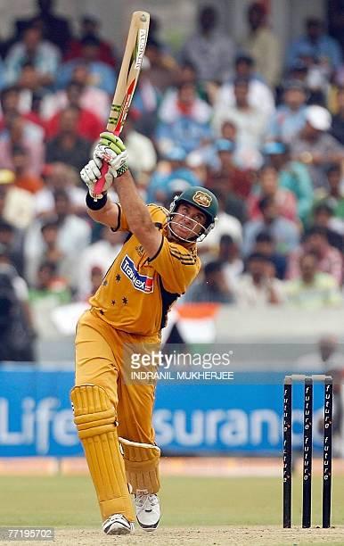Australian cricketer Matthew Hayden plays a shot during the third oneday international match at The Rajiv Gandhi International cricket stadium in...