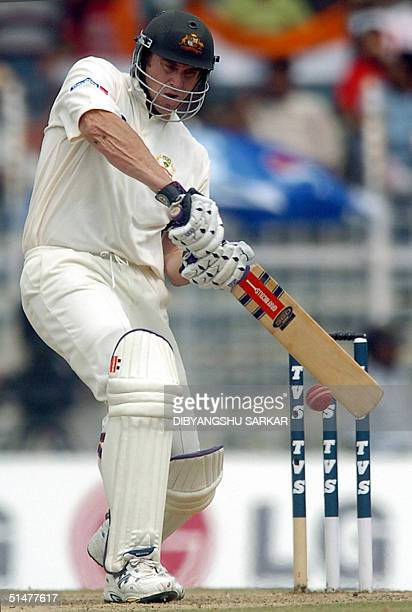 Australian cricketer Matthew Hayden plays a stroke during the first day of the second Test match between India and Australia in Madras 14 October...