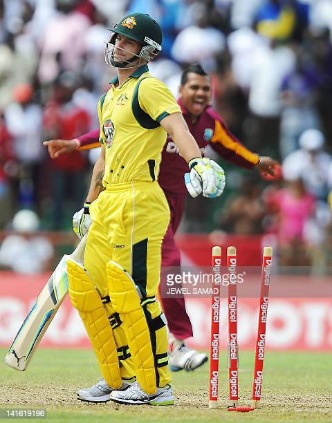 Australian cricketer Matthew Wade is clean off West Indies bowler Sunil Narine during the third-of-five One Day International matches between West...