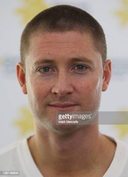 Australian cricketer Michael Clarke poses during a Cancer Council Australia event at Centennial Park on October 27 2010 in Sydney Australia Clarke is...