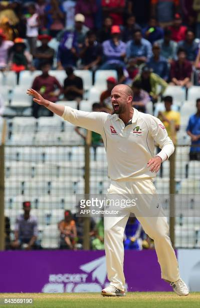 Australian cricketer Nathan Lyon appeals for a legbeforewicket decision against Bangladeshi cricketer Sabbir Rahman during the fourth day of the...