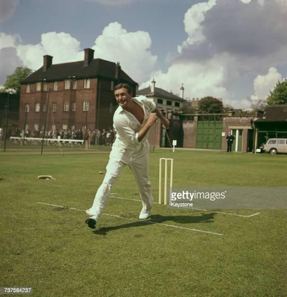 Australian cricketer Richie Benaud bowling 1969