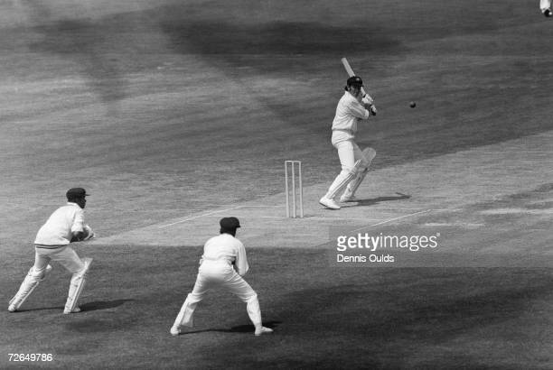 Australian cricketer Rick McCosker cuts a ball to the boundary during the Prudential World Cup match at the Oval 11th June 1975