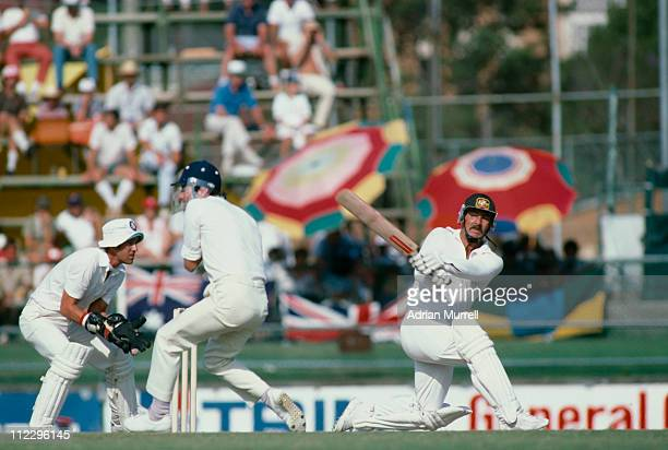 Australian cricketer Rod Marsh sweeps a ball from England bowler Geoff Miller during the Second Test in the Ashes series at Brisbane Cricket Ground...