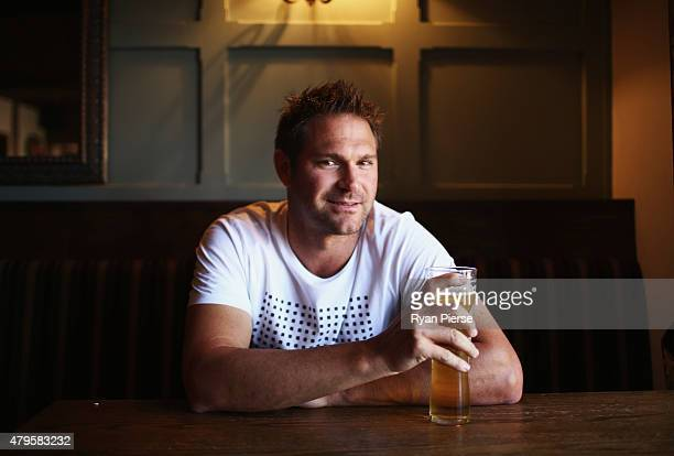 Australian Cricketer Ryan Harris enjoys a beer after yesterday announcing his retirement from cricket due to a knee injury at the Tynant Inn on July...