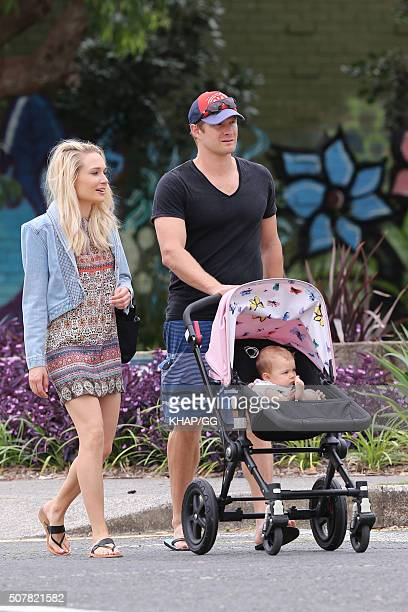 Australian cricketer Shane Watson and wife Lee Furlong enjoy some family time with daughter Matilda on February 1 2016 in Sydney Australia