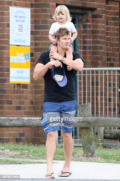 Australian cricketer Shane Watson enjoys family time in Bondi on February 1 2016 in Sydney Australia