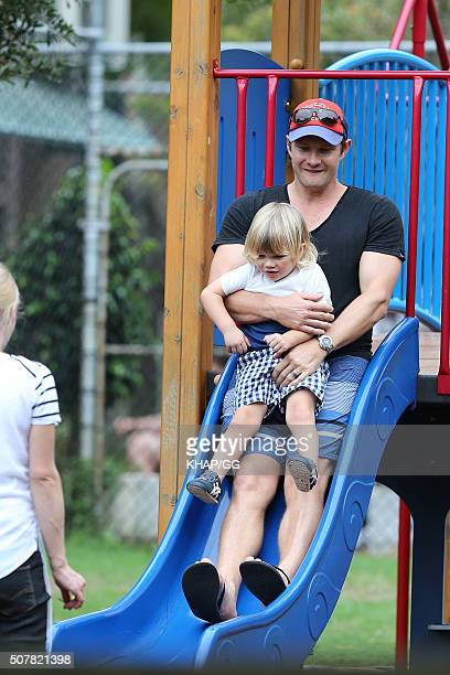 Australian cricketer Shane Watson enjoys fatherhood with daughter Matilda in Bondi on February 1 2016 in Sydney Australia