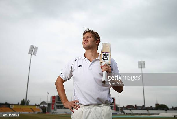 Australian Cricketer Shane Watson poses at The County Ground on August 13 2015 in Northampton England