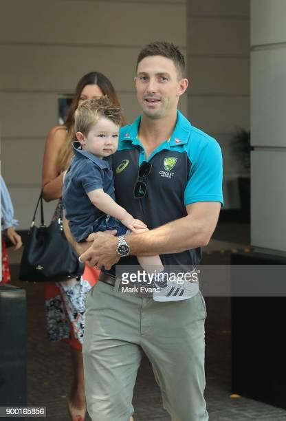 Australian cricketer Shaun Marsh with son Austin outside the team's hotel on January 1 2018 in Sydney Australia